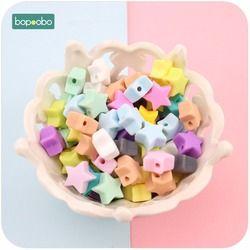Bopoobo Silicone Perles Étoiles Forme 10 pcs 14mm de Qualité Alimentaire Dentition BPA Écologique Libre Perles Bracelet Bricolage Bijoux Bébé anneau de dentition