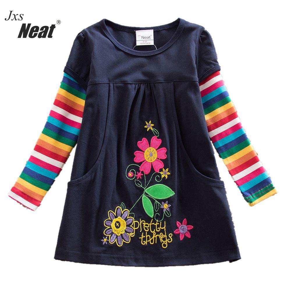 Retail 2017 new girls dress vestidos infantil children clothing kids clothes girls long sleeve floral girl dress H5802