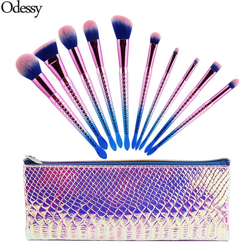 Nuevo Pro 10 UNIDS Sirena Maquillaje Pinceles Set Ceja Delineador de ojos Blush Blending Fundación Cosmética Belleza Maquillaje Cepillo de Pescado Con bolsa