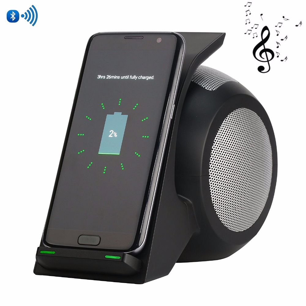 2 in 1 Note 8 Fast Wireless Charger With Wireless Speaker Portable Qi Wireless Charger Pad for iPhone X Samsung Galaxy Note 8