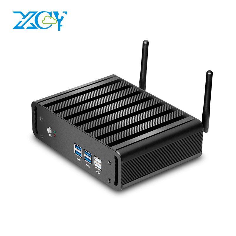 XCY Windows 10 Mini PC i7 7500U i5 7200U i3 7100U 7th Gen Intel Core Processor Fan Mini Desktop PC 4K UHD Silent HTPC HDMI