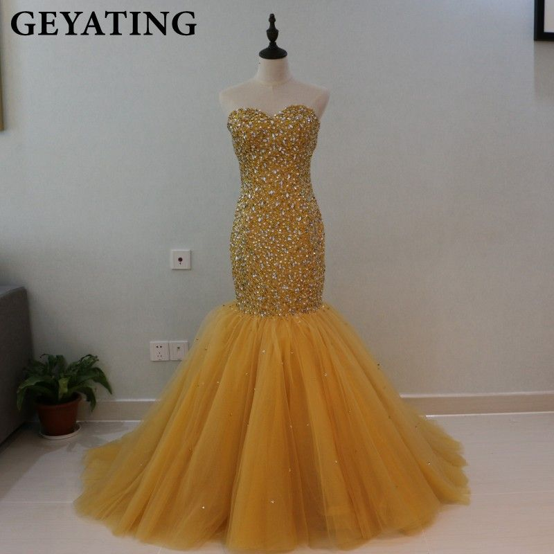 Heavy Beaded Crystal Gold Mermaid Prom Dresses for Black Girls African Evening Dress 2018 Long Sweetheart Formal Party Gowns