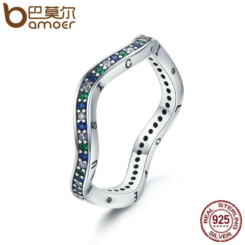 BAMOER Authentic 925 Sterling Silver Music Rhythm Geometric Wave Female Finger Ring Women Party Engagement Jewelry Gift SCR198