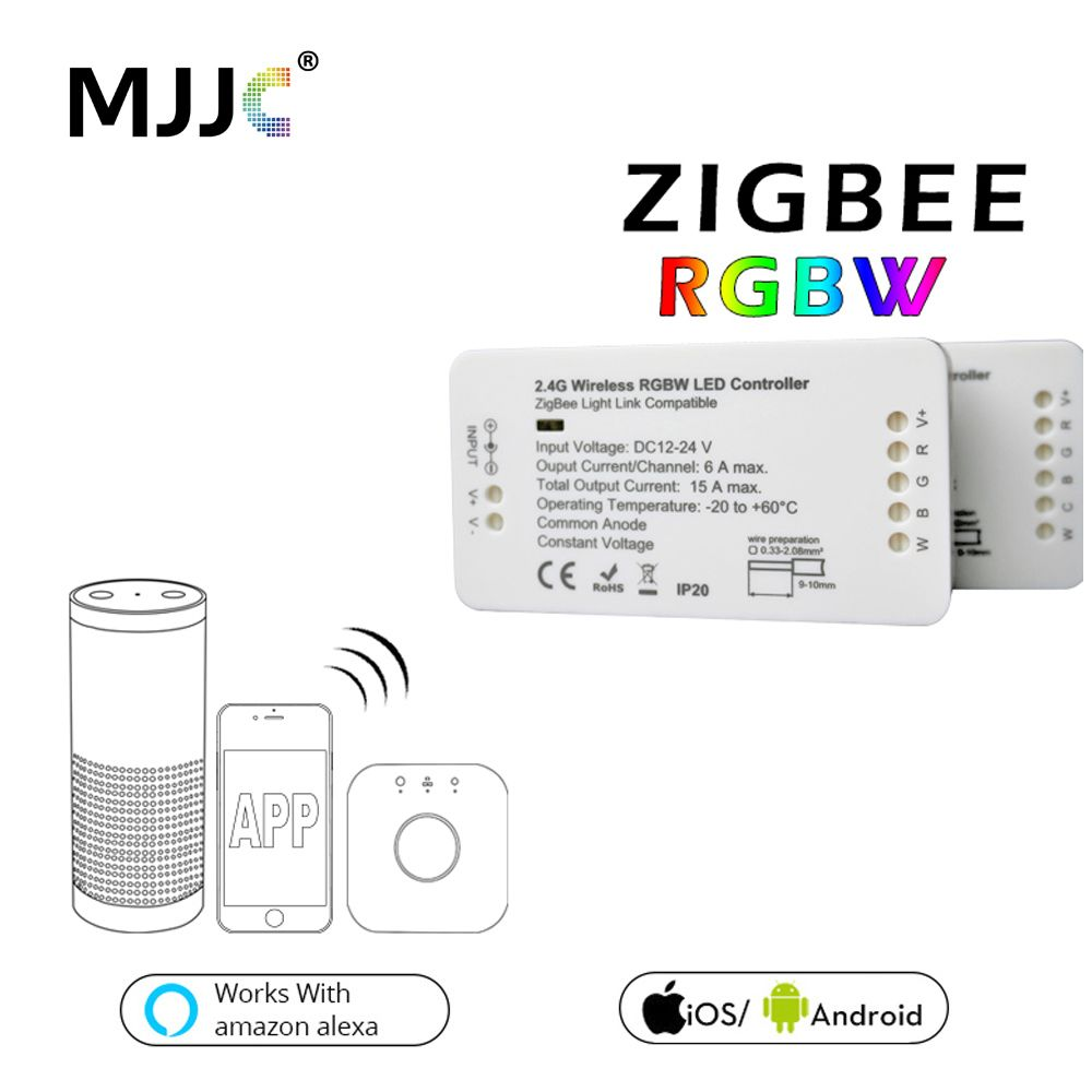 Zigbee Controller DC 12V 24V Bridge LED RGBW Controller For LED Strip Light Compatible Smart Home APP Control Zigbee RGB Dimmer