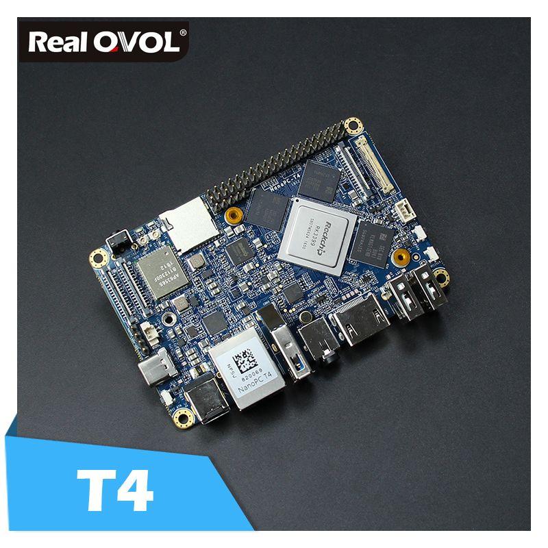 RealQvol NanoPC-T4 Minimal Rockchip RK3399 Soc 4GB RAM 16GB eMMC AI and deep learning applications Dual-band wifi M.2 PCIe NVME