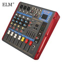 ELM 4 Channel Digital Sound Mixer With USB Bluetooth 48V Power Mixing Console LCD Display Digital Effects For Audio DJ Karaoke
