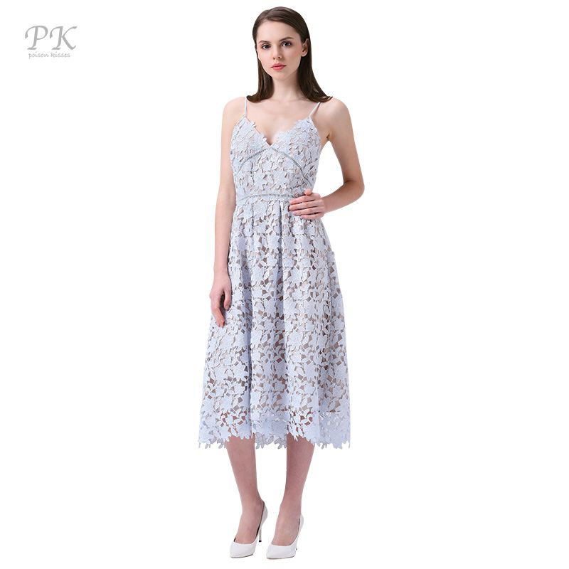 PK light blue lace dress summer 2018 padded hollow out long party vintage girls lace dresses women clothing girl lace dress long