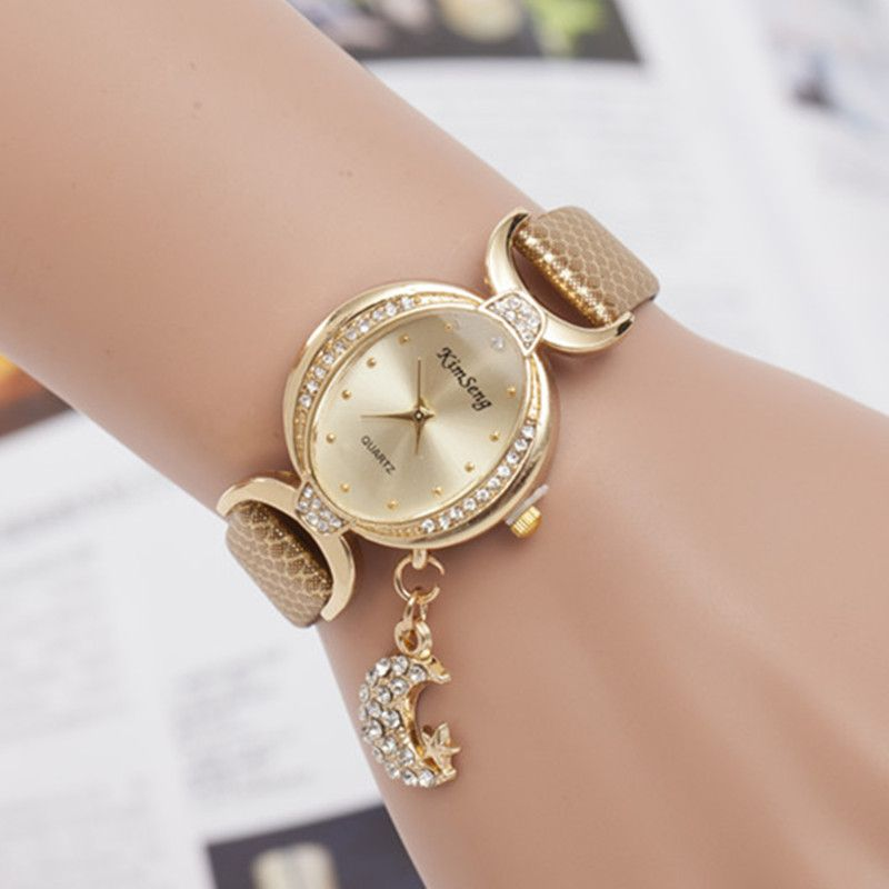 Relojes de Mujer de Marca de Lujo Rhinestone luna colgante De Pulsera De Cuero Para Las Mujeres se Visten de Cuarzo Reloj relojes reloj mujer xfcs