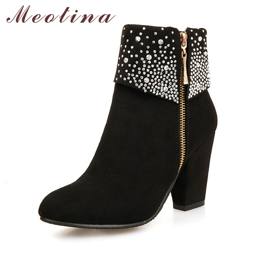 Meotina Winter Women Boots Fashion Thick High Heels Boots Crystal Autumn Ankle Boots for Women Shoes Blue Red Big Size 9 42 43