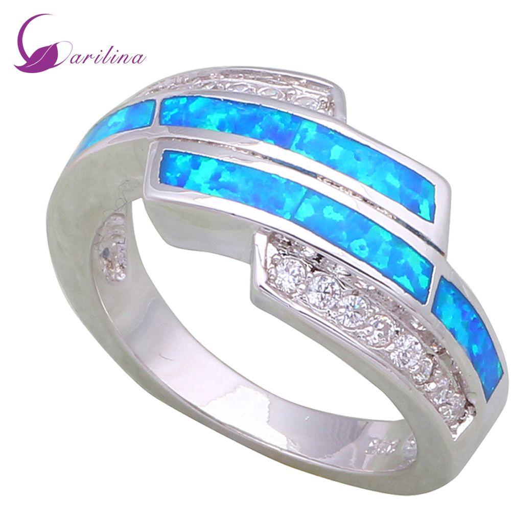 Garilina dernière conception bagues pour femmes blanc zircon cubique bleu opale de feu 925 argent Sterling R477