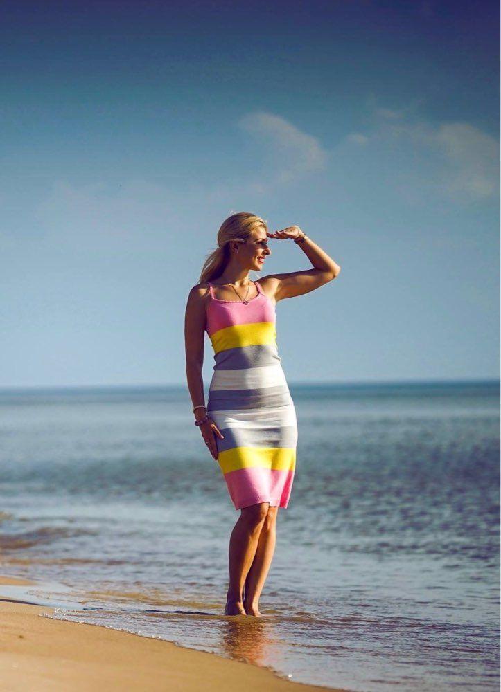 [Alphalmoda] Summer Women New Striped Dress <font><b>Hit</b></font> Color Pullovers Knitted Sundress Long Mid-calf Female Summer Sheath Dress