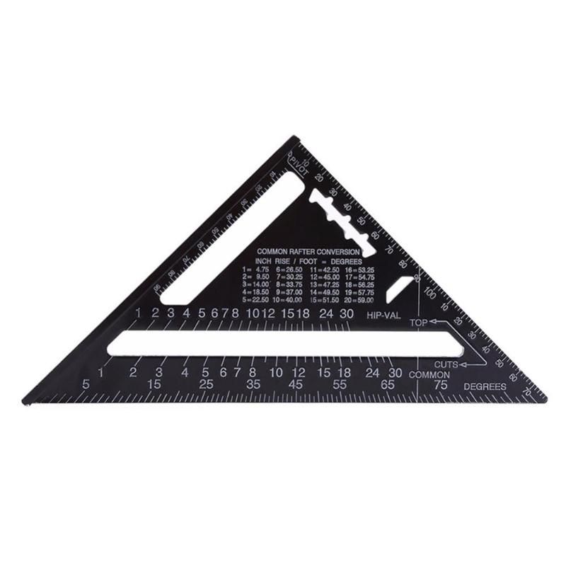 7inch 12inch Aluminum Alloy Metric Triangle Measuring Ruler for Woodworking Speed Square Angle Protractor Measuring Tools
