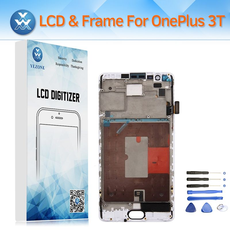 Original LCD Screen with Frame Complete Assembly for OnePlus 3T A3010 LCD Display Touch Digitizer Replacement Black White+Tools