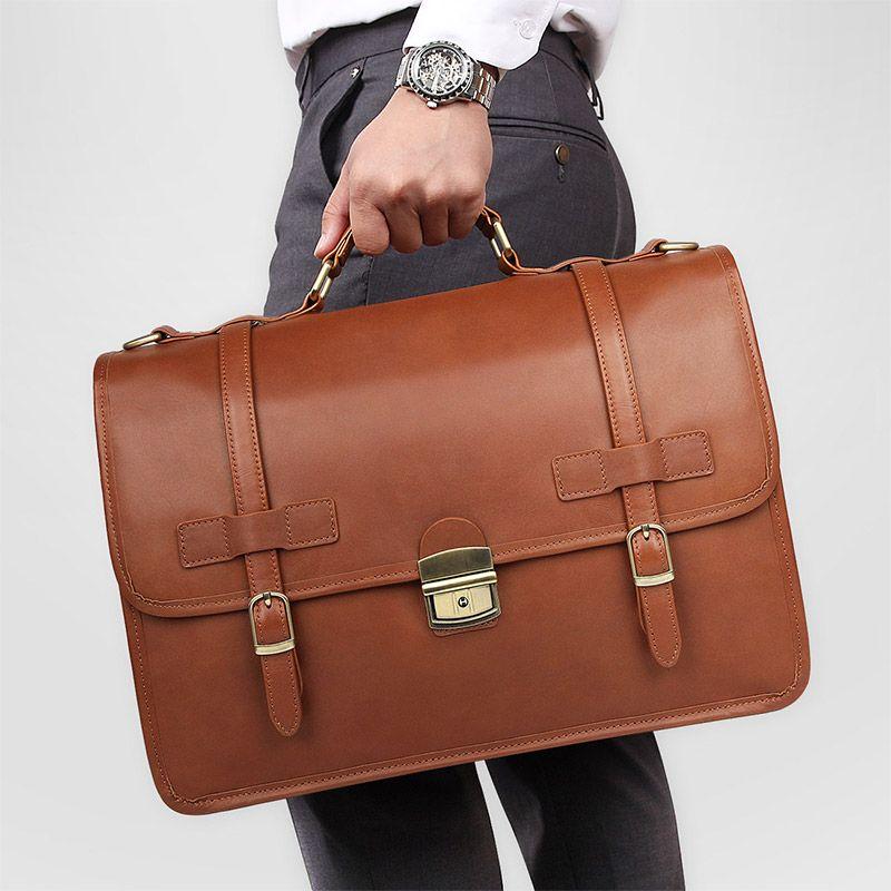 Nesitu Braun Dicke Echtem Leder Büro Business Männer Aktentasche Männlichen Messenger Bags Portfolio Handtasche Schulter Tasche M7397