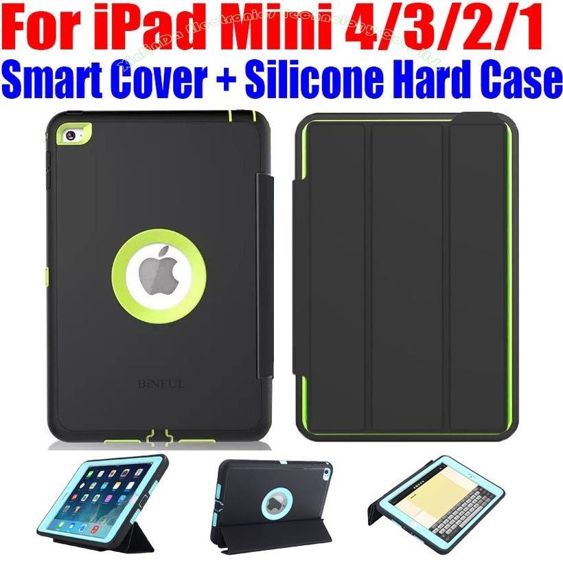 Pour iPad Mini 4/3/2/1 Smart Cover + Silicone TPU Dur cas Kids Safe Armure Antichoc Heavy Duty avec Protecteur D'écran IM408