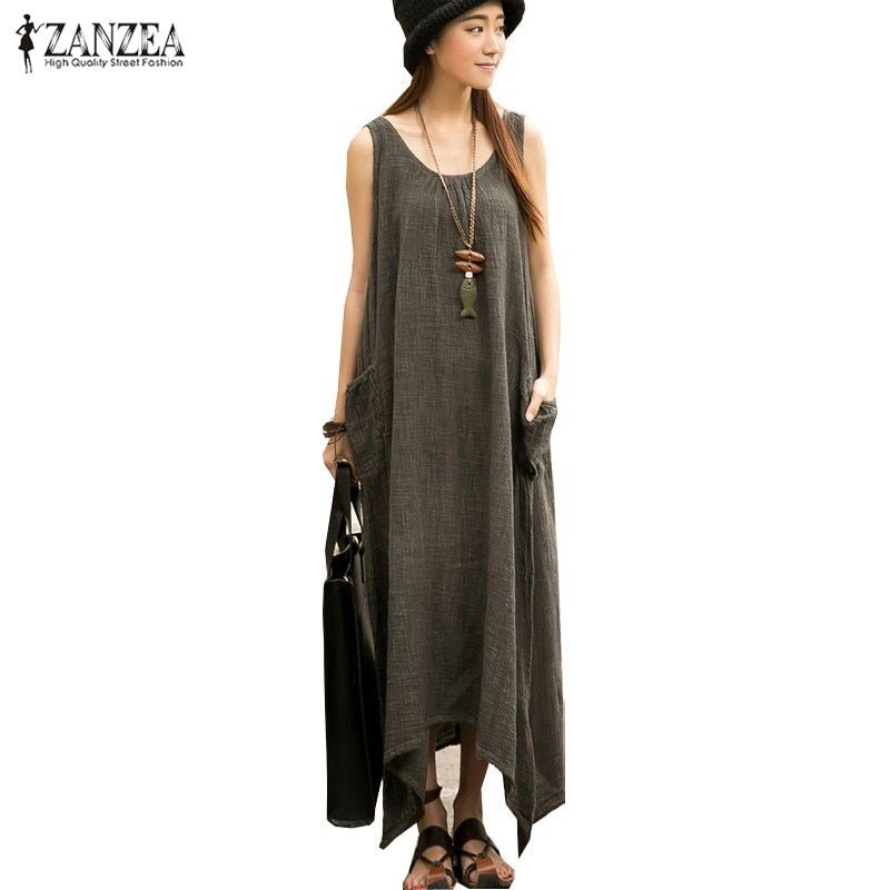 Newest ZANZEA 2018 Summer Women Casual Loose Sleeveless Vintage Long Maxi Dress Irregular <font><b>Party</b></font> Dresses Vestidos