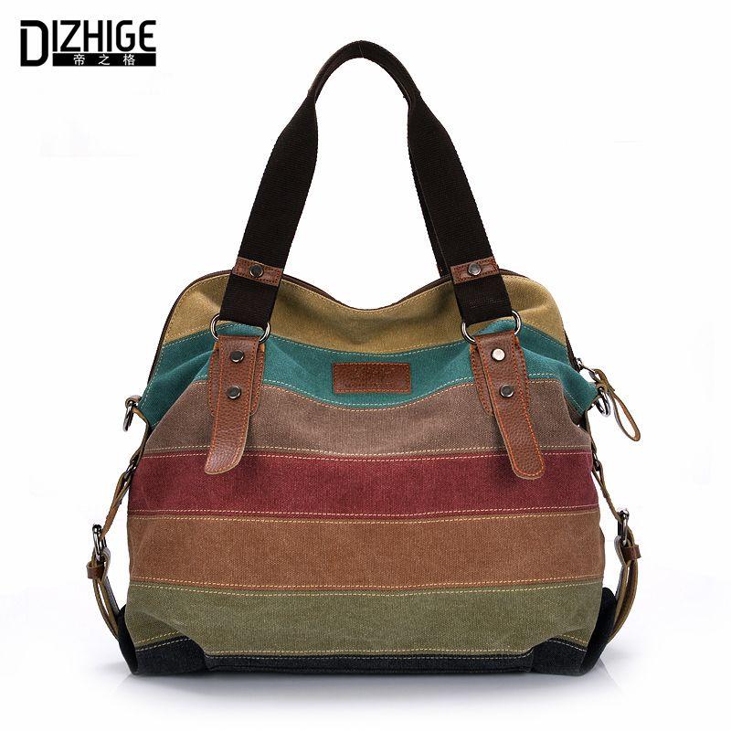 Canvas Bag Tote <font><b>Striped</b></font> Women Handbags Patchwork Women Shoulder Bag New Fashion Sac a Main Femme De Marque Casual Bolsos Mujer