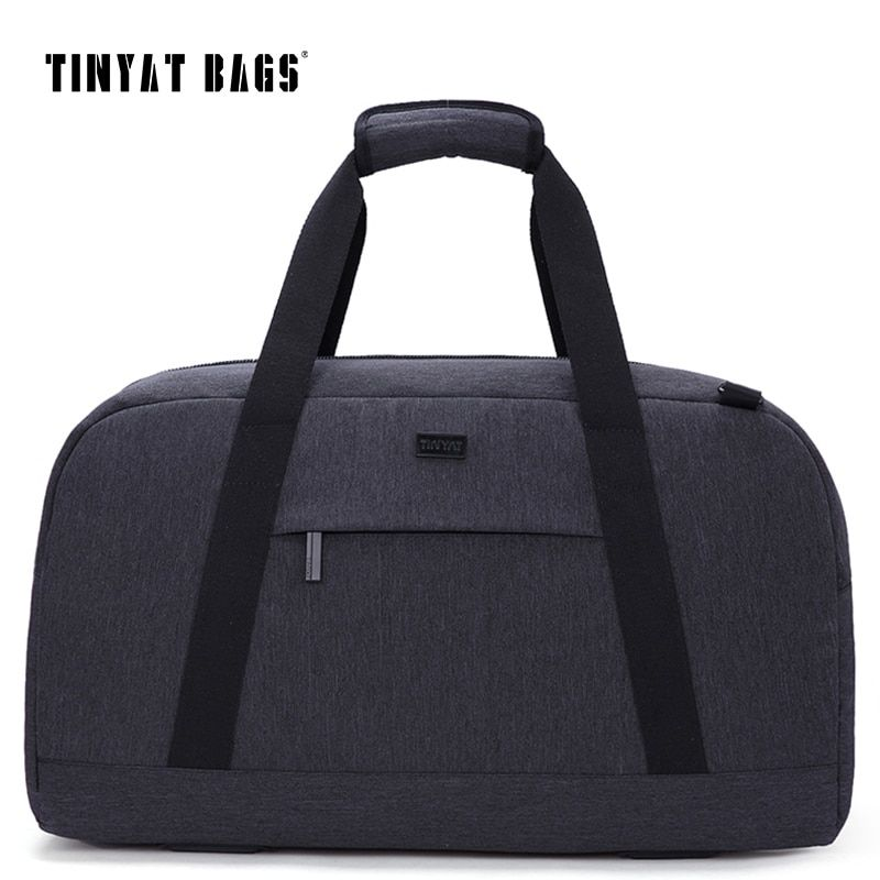 TINYAT New Male Men Travelling bag 40L Travel Luggage bag Nylon Large Capacity Handbags Casual bag Shoulder Duffle Bag Gray T307