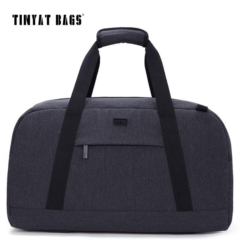 TINYAT Nuevo Hombre Hombres bolsa de Viaje 40L bolsa de Equipaje de Viaje de Nylon de Gran Capacidad Bolsos Ocasionales del bolso de Hombro Bolsa de Lona Gris T307