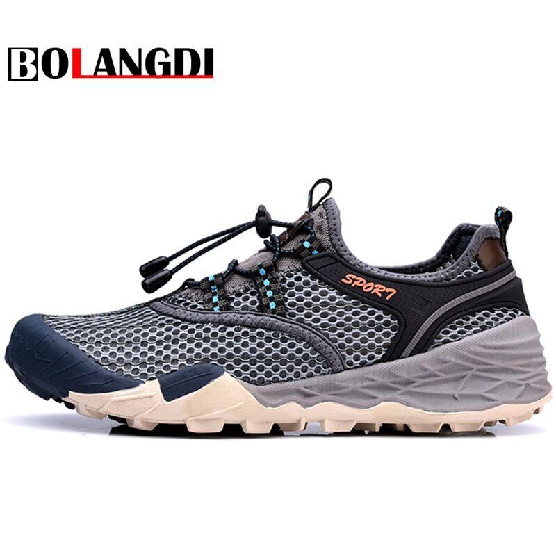 Bolangdi men's Summer Outdoor Trekking Hiking Sandals Shoes Sneakers For Brand men Sports Climbing Mountain Beach <font><b>Aqua</b></font> Shoes man