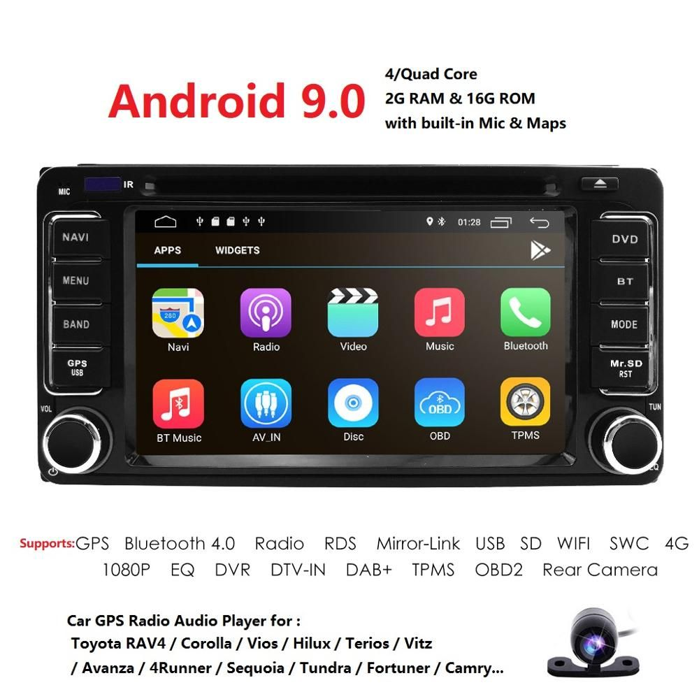 Android 9.0 DVD Player Für Toyota Universal RAV4 COROLLA VIOS HILUX Terios Land Cruiser 100 PRADO 4RUNNER DVR Bluetooth hinten cam