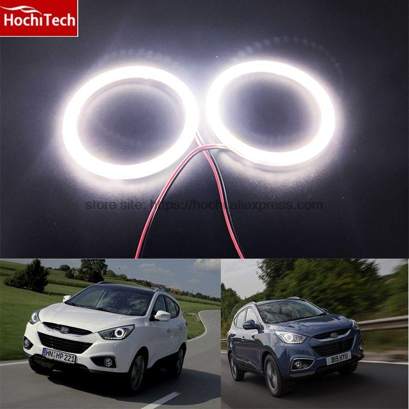 HochiTech Ultra bright SMD white LED angel eyes 2000LM 12V halo ring kit daytime running light DRL for Hyundai ix35 2010-2012