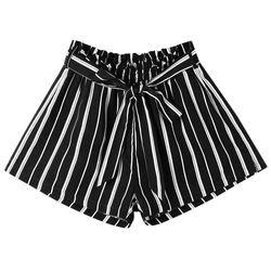 Kenancy WomenTie ремень полосатый шорты для женщин эластичный пояс широкие брюки шорты с бантиком летние женские модные 2018 Новое поступлен