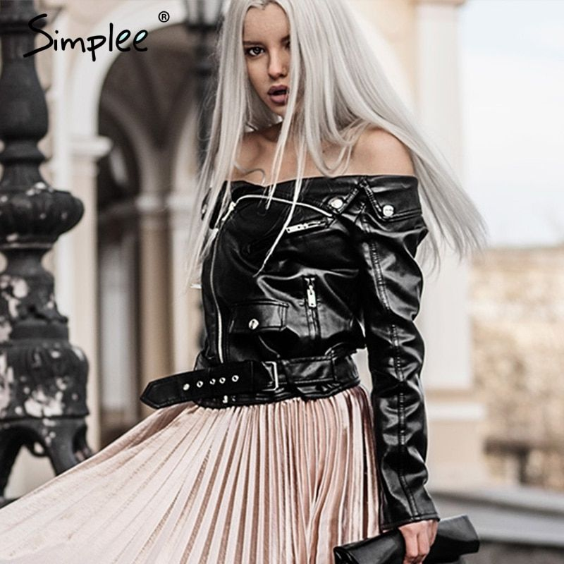 Simplee Off shoulder faux leather jacket women motorcycle jacket 2016 autumn winter outerwear coats Short zipper basic jackets