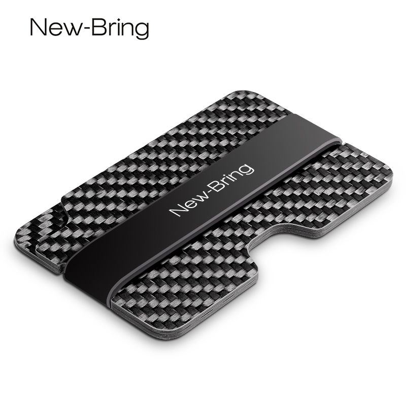 NewBring 100% Real Compact Carbon Fiber Mini Money Clip Fashion Black  Credit Card ID Holder With RFID Anti-chief Card Wallet