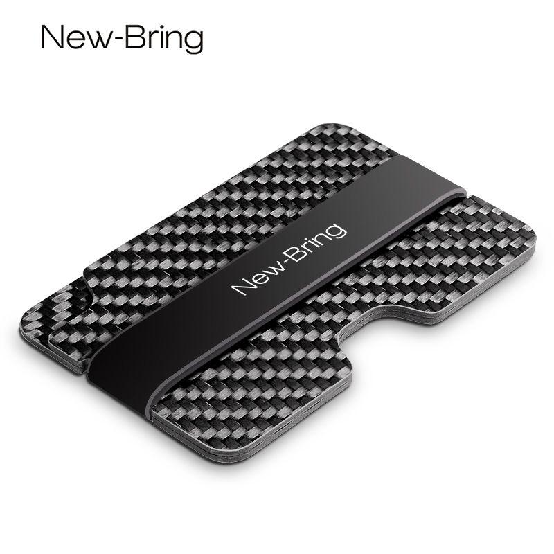 Newbring 100% натуральная компактный углерода Волокно мини-зажим для денег Кредитной Карты Рукава ID держатель с RFID Анти-Вор карты кошелек