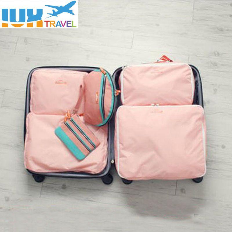 5 PCS Set Mode Vêtements Organisateur Voyage Sac Grande Capacité Sac Femmes Pliage Sac Unisexe Bagages Voyager Sac À Main sur mesure fait