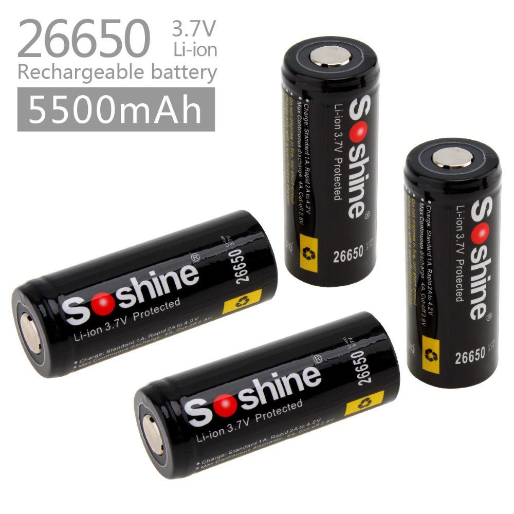 4 pc 3.7 v 5500 mah 26650 Li-ion Rechargeable avec PCB Protégée pour LED lampes de Poche Projecteurs