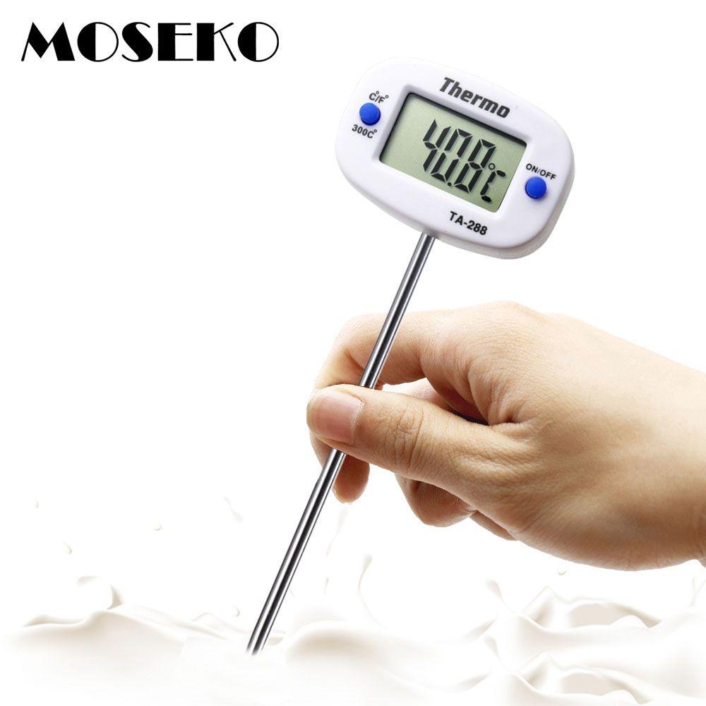 MOSEKO Drehbare Digital Lebensmittel-thermometer BBQ Fleisch Schokolade Ofen Milch Wasser Öl Kochen Küche Thermometer Elektronische Sonde