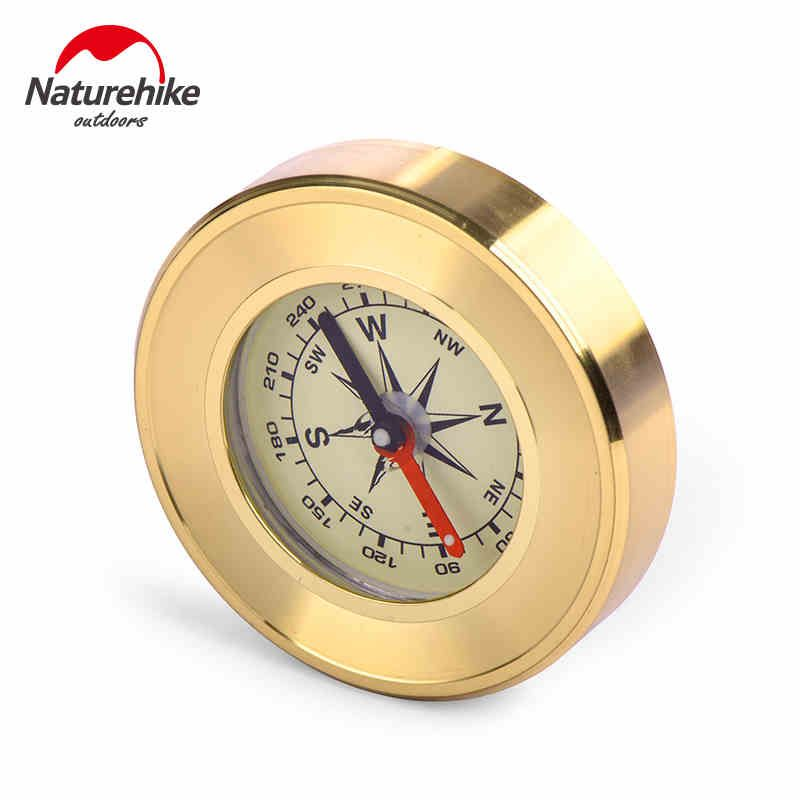 NatureHike Mini Military Camping Marching Lensatic Compass Magnifier Gold Survival Products
