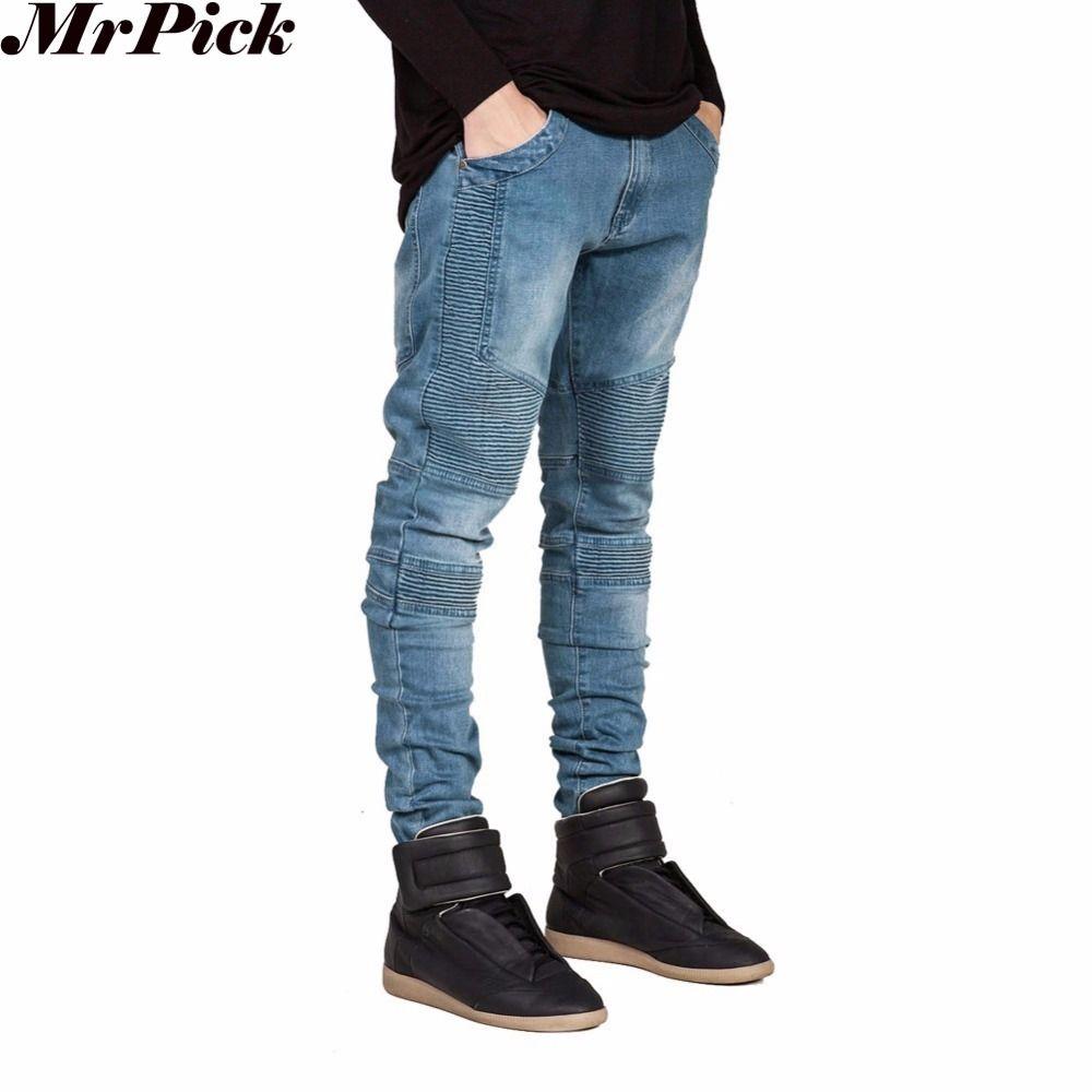 2016 hommes Skinny Jeans hommes piste Slim Racer Biker Jeans Strech Hiphop Jeans pour hommes Y2036