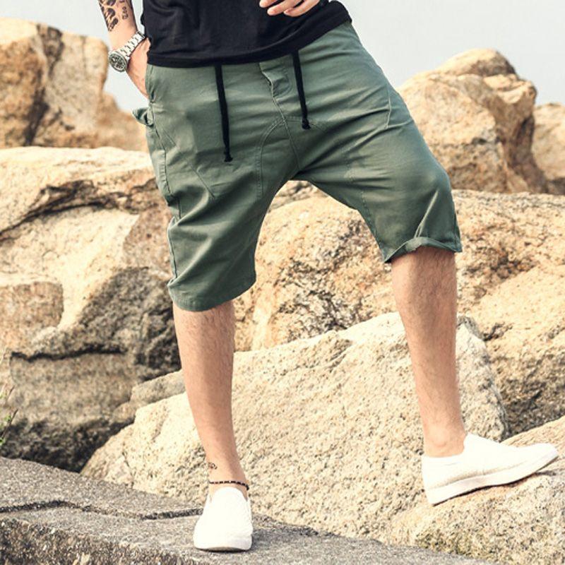 Men Summer Cargo Shorts Bermuda Homme solid casual men Mens Short Pants Jogger men Clothing Beach drop crotch Boardshorts