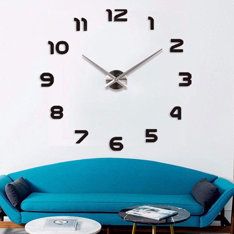 2017 New fashion 3D big size wall clock mirror <font><b>sticker</b></font> DIY wall clocks home decoration wall clock meetting room