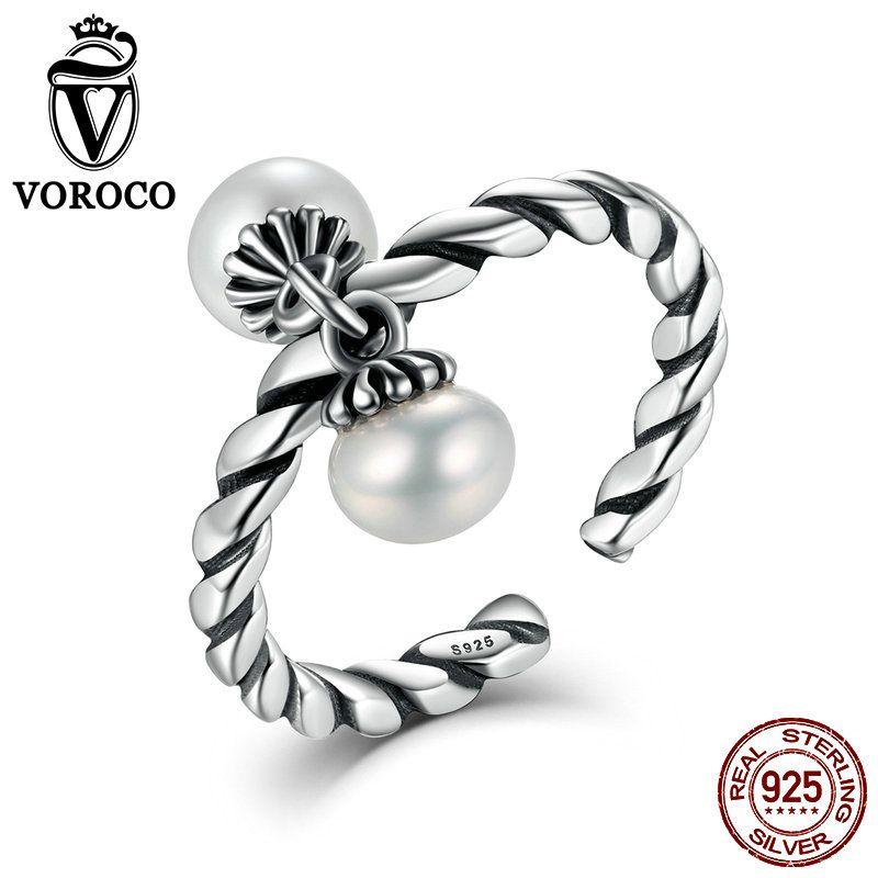 VOROCO Double D'eau Douce Perles Vintage Élégant Vintage Steling Argent 925 Ouvert Réglable Anneaux pour Femme Anneaux De Mariage VSR015