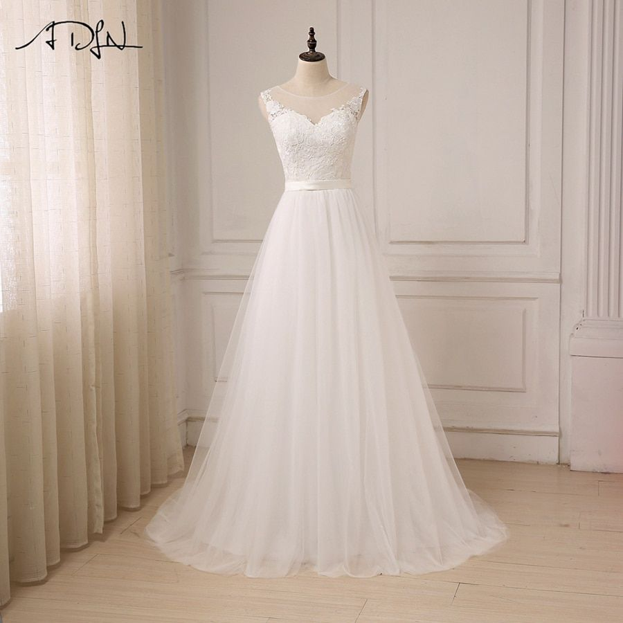 ADLN Cheap Lace Wedding Dress O-Neck Tulle Boho Summer Beach Bridal Gown Bohemian Wedding Gowns Robe De Mariage