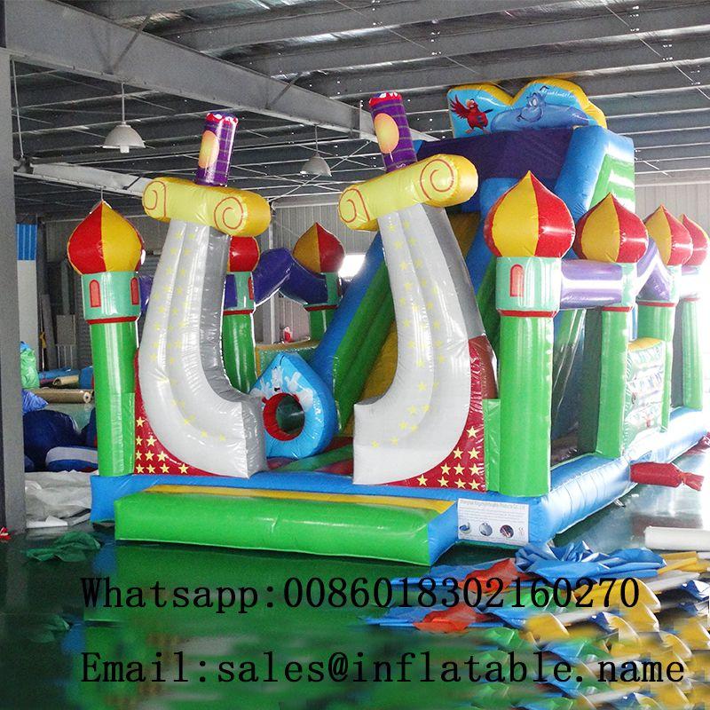 Aufblasbare rutsche türsteher combo trockenen rutsche spaß stadt bouncy schiebe für kinder rutsche