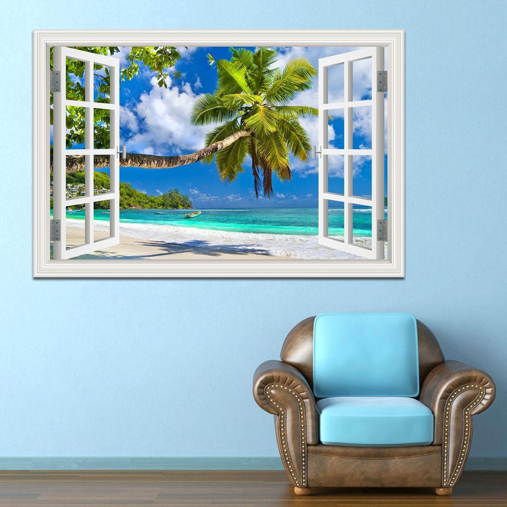 Stickers muraux décor à la maison été plage cocotier photo amovible vinyle Stickers paysage papier peint décoration moderne