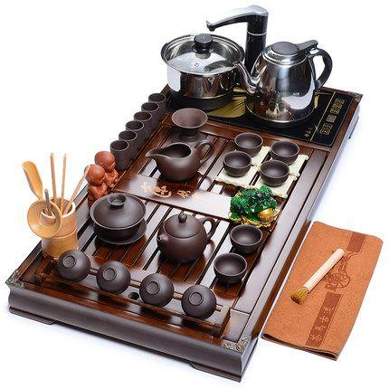 Wholeset Chinese Kung Fu tea set Home Zisha/Ceramic tea set Four-in-one electric stove tea Taiwan solid wood tea tray Accessorie