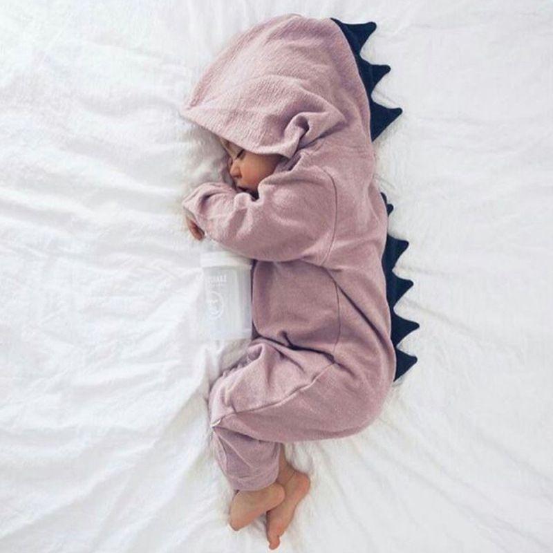 Dinosaure de bande dessinée Conception À Capuchon Bébé Barboteuses Nouveau-Né Vêtements Coton À Manches Longues Combinaisons Garçons Filles Survêtement Costume Bébé Cadeau