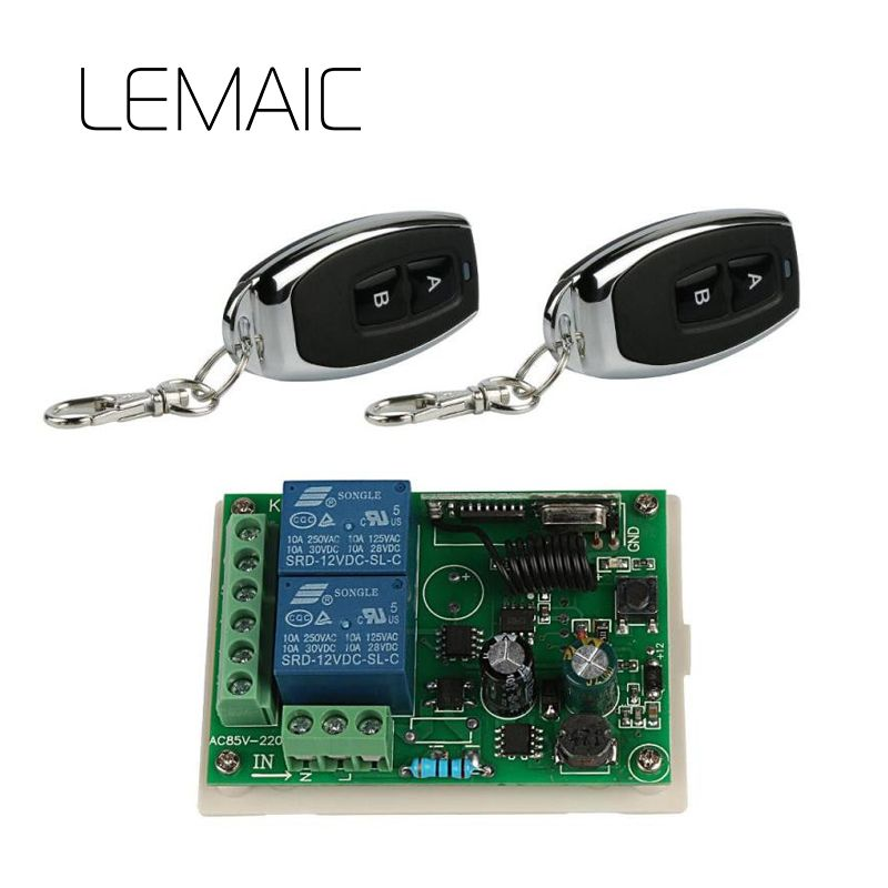 LEMAIC 433 Mhz Universal Wireless Remote Control Switch AC 85V 110V 220V 2CH Relay Receiver Module And RF Remote Controls S35