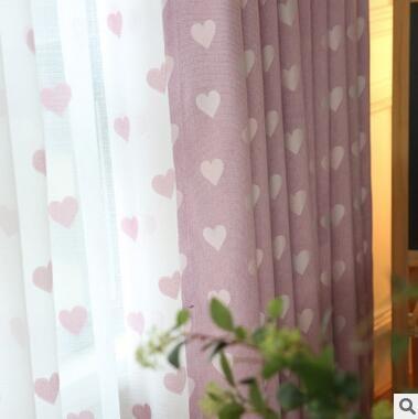 Rideau de broderie moderne simple rideau de fenêtre écrans en lin en forme de coeur salon/chambre/étude rideau d'ombre