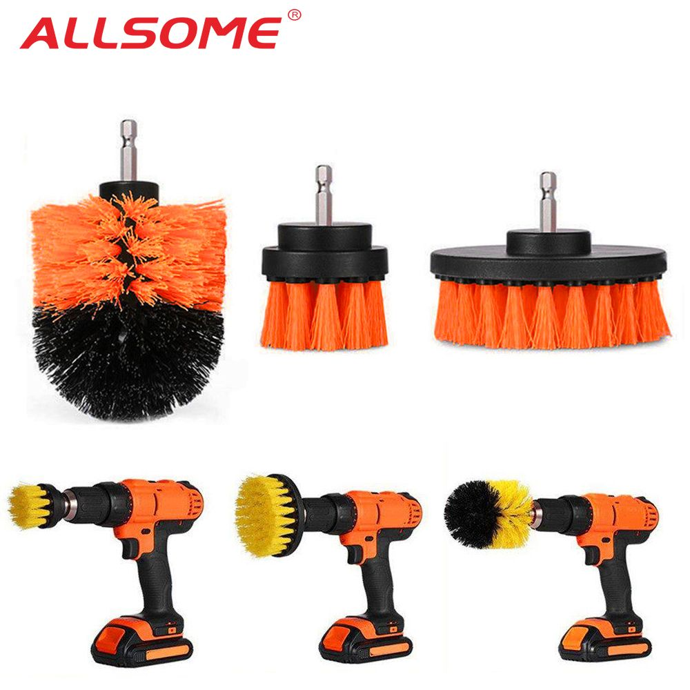 3pcs Power Scrubber Brush Set For Bathroom Drill Scrubber Brush For Cleaning Cordless Drill Attachment Kit Power Scrub Brush