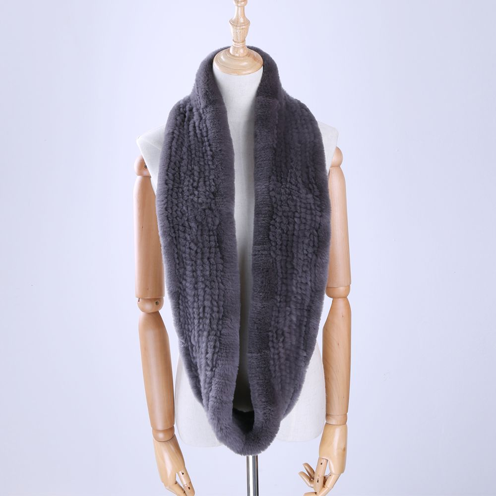 2017 New Winter Women's Genuine Real Rex Rabbit Fur Hand Knitted Scarf Infinity Cowl Ring Scarves Fur Wraps Snood Street Fashion