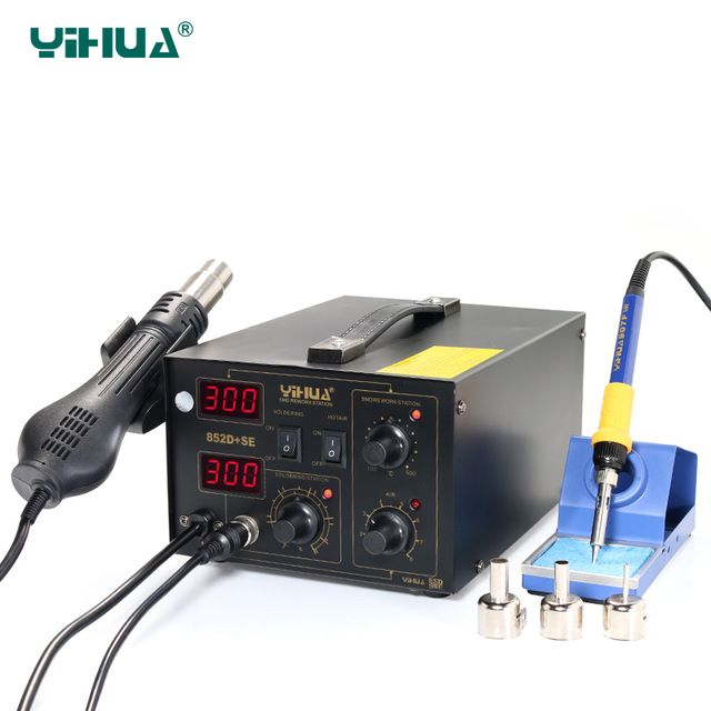 Hot Air Soldering Warming Up Quickly With Imported Heater Element Hot Air Soldering Station YIHUA 852D+SE Brushless