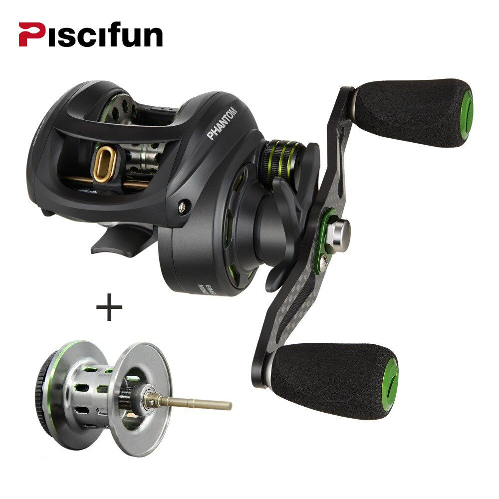 Piscifun Phantom+spool Fishing Reel <font><b>Carbon</b></font> Fiber Ultralight 162g Dual Brake 7.7kg Max Drag 7.0:1 Gear Lake Baitcasting Reel
