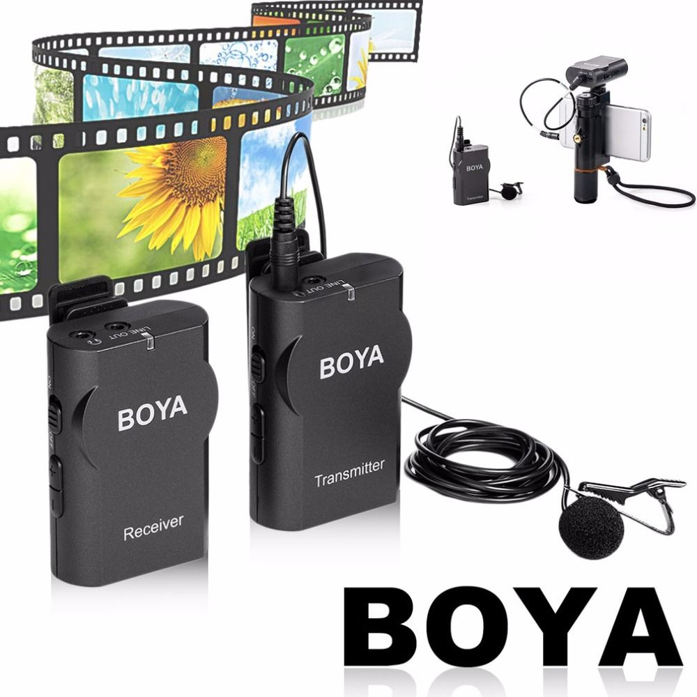 BOYA Professional Wireless Microphone System Lavalier Lapel DSLR Camera Camcorder Mic For iPhone For Android Cell Phone